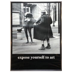 "Vintage 1970s ""Expose Yourself to Art"" Framed Poster"