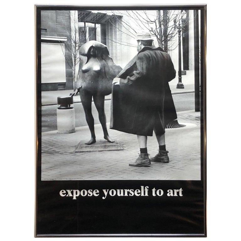 "Vintage 1970s ""Expose Yourself to Art"" Framed Poster For Sale"
