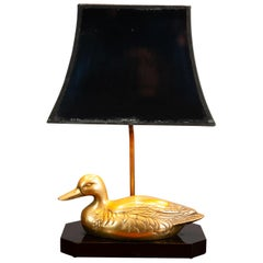 Vintage 1970s French Brass Duck Table Lamp Maison Jensen Style Hollywood Regency