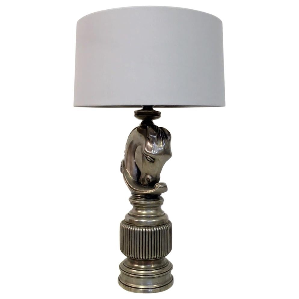 Vintage 1970s French Nickel Horse Head Table Lamp