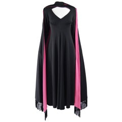 Vintage 1970s Fringed Cape Maxi Evening Dress