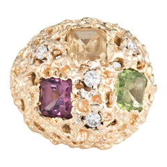 Vintage 1970s Gemstone Dome Ring 14 Karat Gold Bombe Diamond Peridot Tourmaline