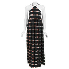 Vintage 1970's Geoffrey Beene Novelty 'New York' Print Knit Backless Maxi Dress