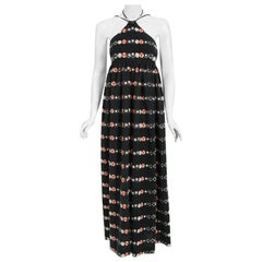 Vintage 1970's Geoffrey Beene Novelty 'New York' Print Knit Backless Maxi Dress