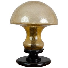 Vintage 1970s German Doria Leuchten Light Amber Glass Mushroom Lamp