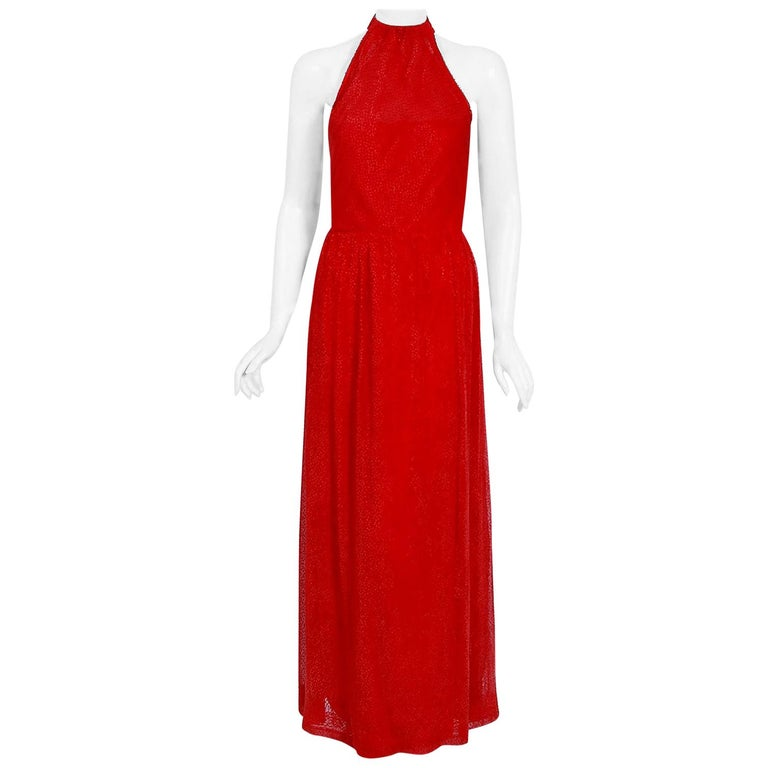Vintage 1970's Givenchy Red Flecked Silk Draped Criss-Cross Halter Maxi Dress For Sale