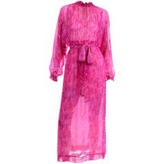 Vintage 1970s Givenchy Sheer Pink Print Silk Chiffon Evening Dress w Low Back