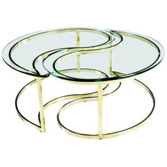 Vintage 1970s Glass and Gold Brass Yin Yang Coffee Table