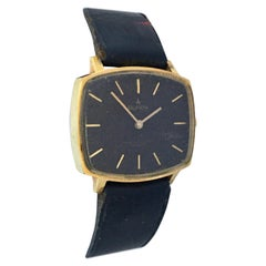 Vintage 1970s Gold-Plated and Stainless Steel Black Dial Mechanical Watch