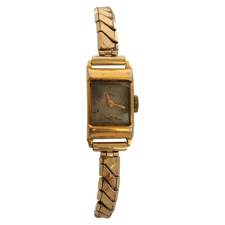 Vintage 1970s Gold-Plated Services Ladies Mechanical Watch For Sale