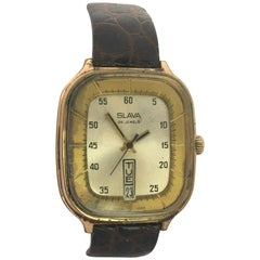 Vintage 1970s Gold-Plated Slava 26 Jewels Date Mechanical Gents Watch
