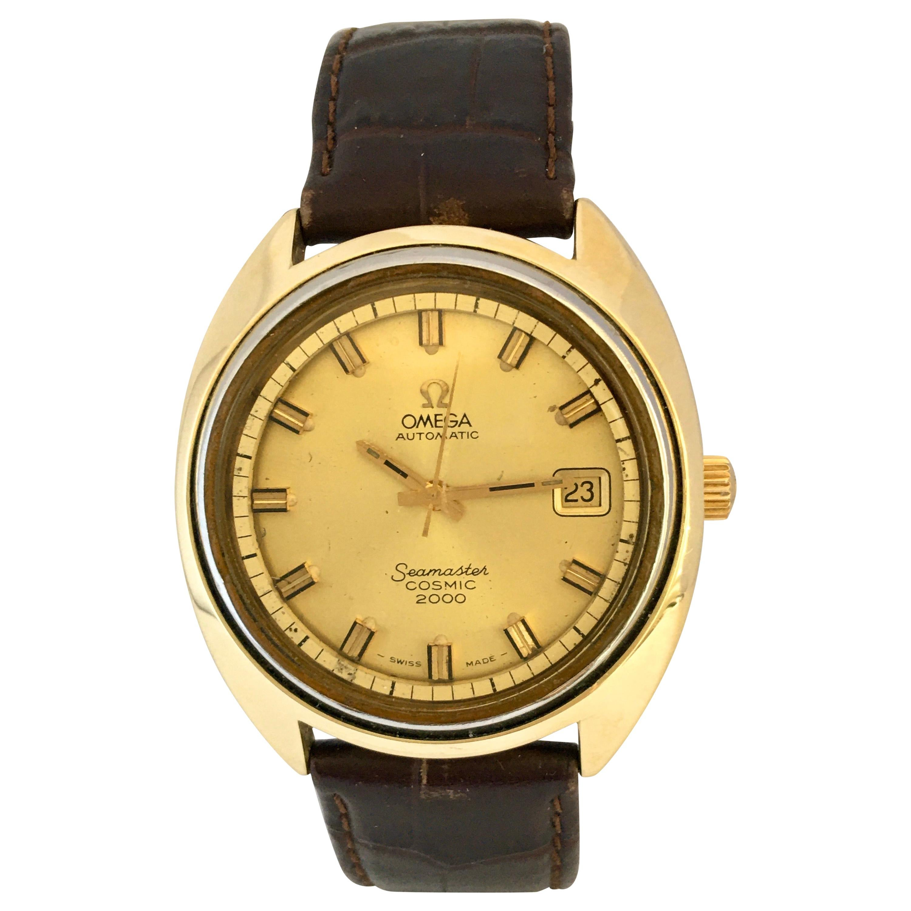 Vintage 1970s Gold-Plated SS Back Omega Automatic Seamaster Cosmic 2000 Watch