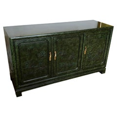 Vintage 1970s Green Chinoiserie Credenza by Mario Buatta for Widdicomb
