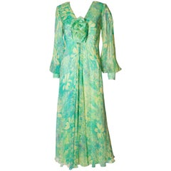 Vintage 1970s green floral print silk dress by Alison Rodger