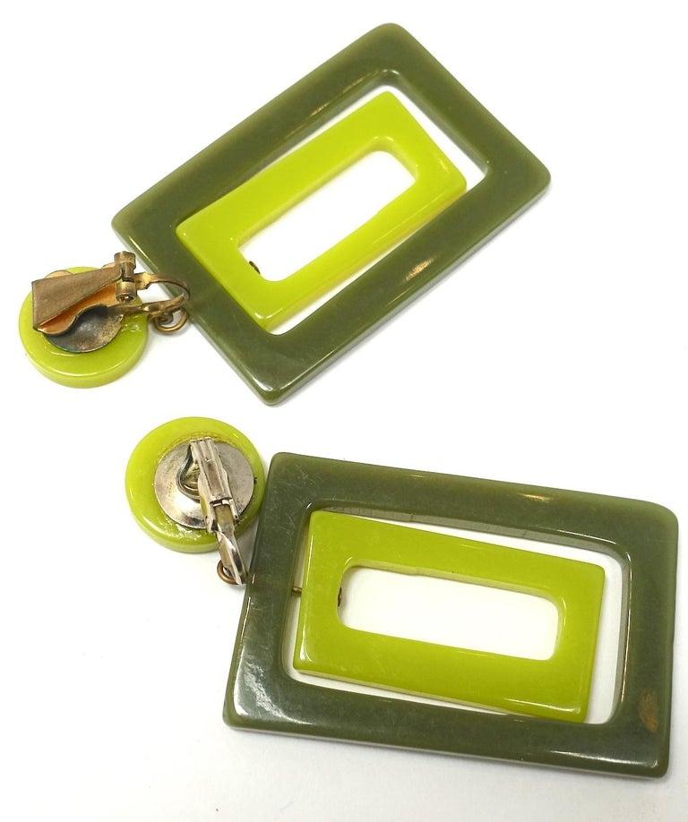 Women's Vintage 1970s Green Plastic Dangle Earrings For Sale