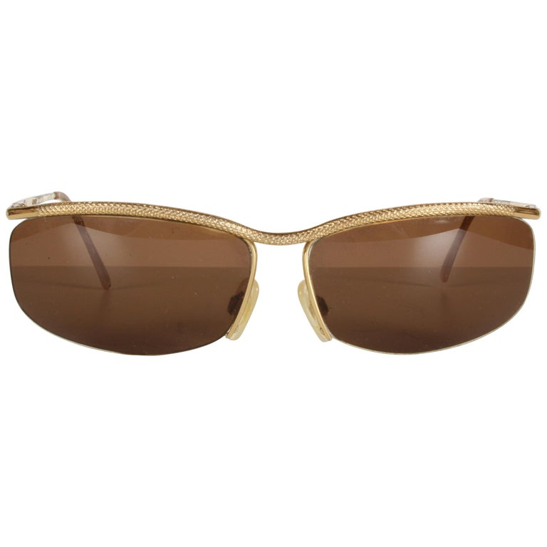 Vintage 1970s Gucci 22-Karat Gold-Plated Wrap Sunglasses with Brown Lenses Italy For Sale