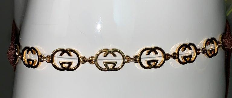 Vintage 1970's Gucci Brown Ultra Low Rise Gold G Logo Chain Bikini Swimwear In Good Condition In Yukon, OK