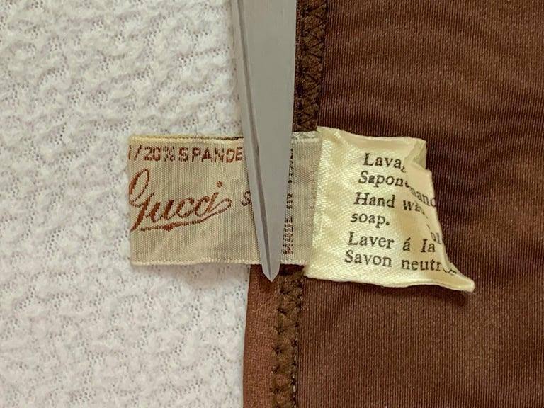 Women's Vintage 1970's Gucci Brown Ultra Low Rise Gold G Logo Chain Bikini Swimwear