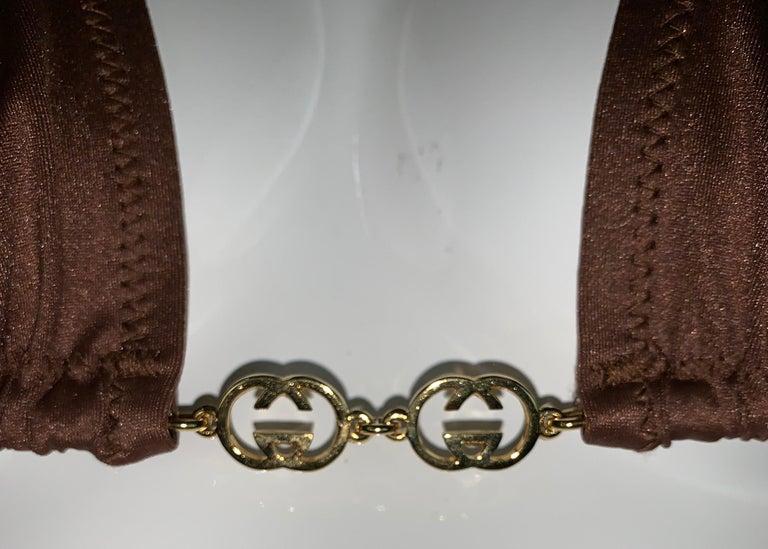Vintage 1970's Gucci Brown Ultra Low Rise Gold G Logo Chain Bikini Swimwear 2