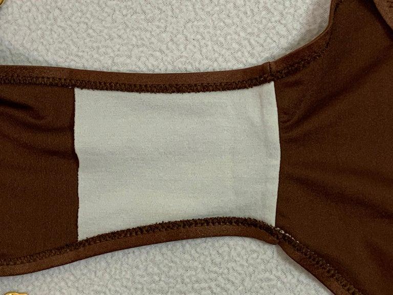 Vintage 1970's Gucci Brown Ultra Low Rise Gold G Logo Chain Bikini Swimwear 3