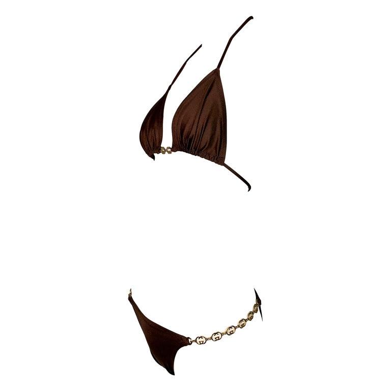 Vintage 1970's Gucci Brown Ultra Low Rise Gold G Logo Chain Bikini Swimwear