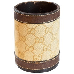 Vintage 1970s Gucci GG Pencil Cup Holder