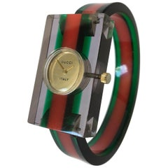 Vintage 1970s Gucci Lucite and Bakelite Bangle Watch