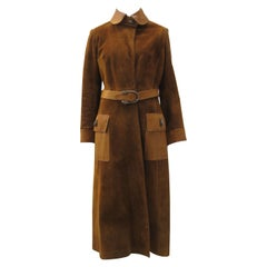 Vintage 1970s Gucci Tan Suede Leather Trim Coat with Tiger Hardware