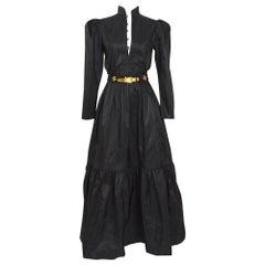 Vintage 1970s Guy Laroche Paris 100% silk taffeta maxi dress with matching belt