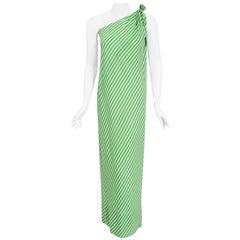 Vintage 1970's Halston Couture Green & White Stripe One Shoulder Bias-Cut Dress