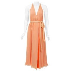 Vintage 1970's Halston Couture Peach Silk-Chiffon Low Plunge Belted Wrap Dress