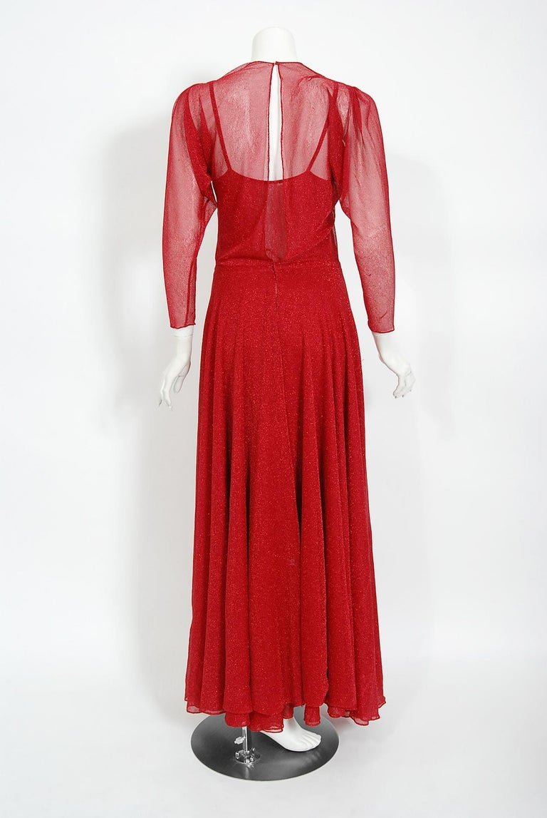 Vintage 1970's Halston Couture Red Metallic Semi Sheer Knit Long-Sleeve Dress For Sale 6