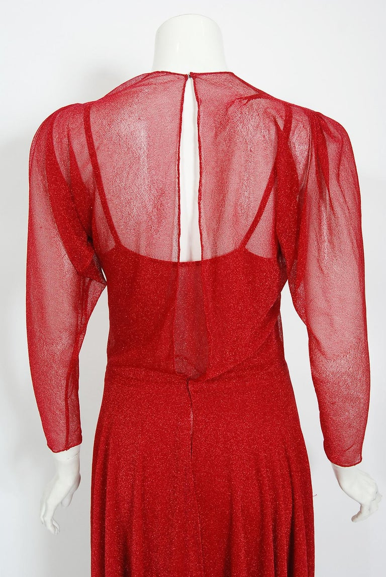 Vintage 1970's Halston Couture Red Metallic Semi Sheer Knit Long-Sleeve Dress For Sale 7