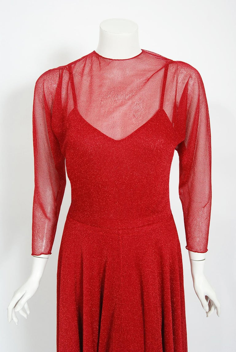 Gorgeous Halston Couture metallic lurex knit dress ensemble dating back to the mid 1970's. Throughout most of the seventies he epitomized the glamour, as well as the decadence of the era, becoming a central figure in the nightlife scene of New