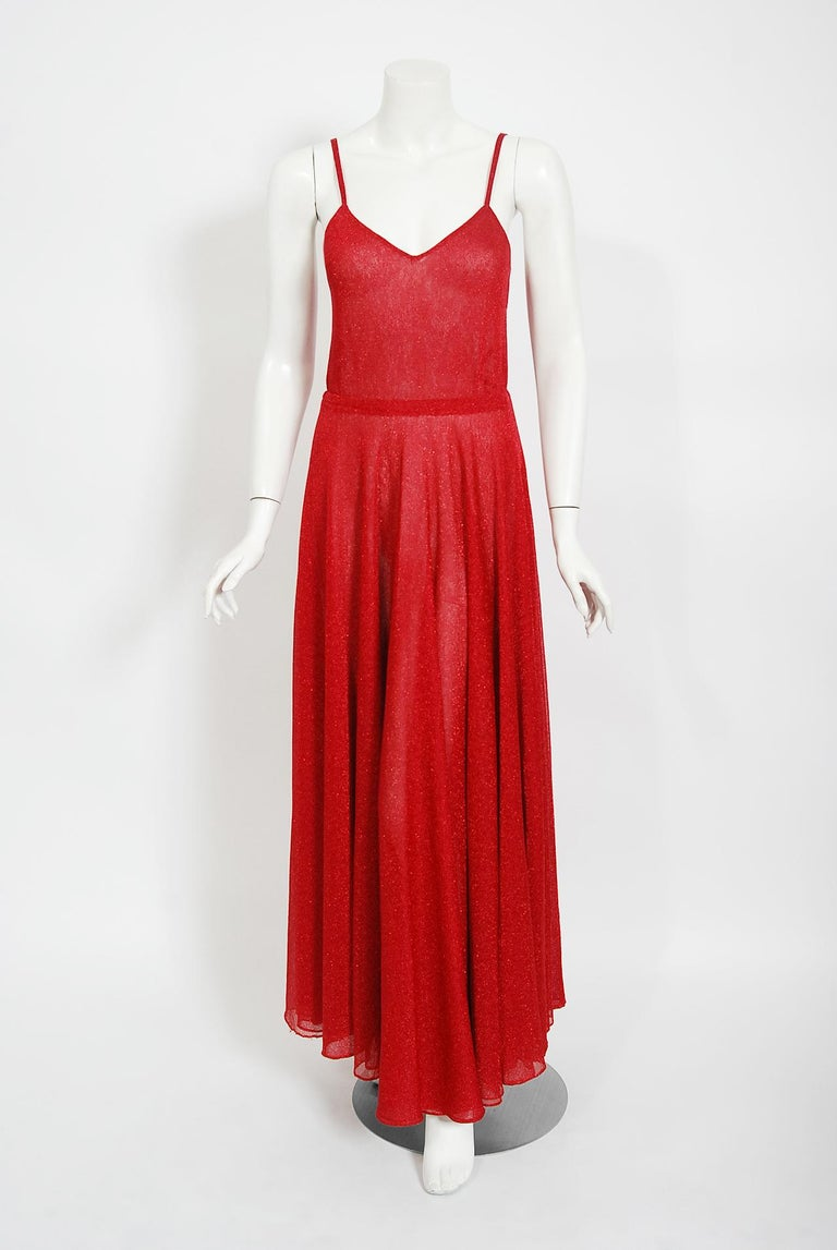 Vintage 1970's Halston Couture Red Metallic Semi Sheer Knit Long-Sleeve Dress For Sale 1