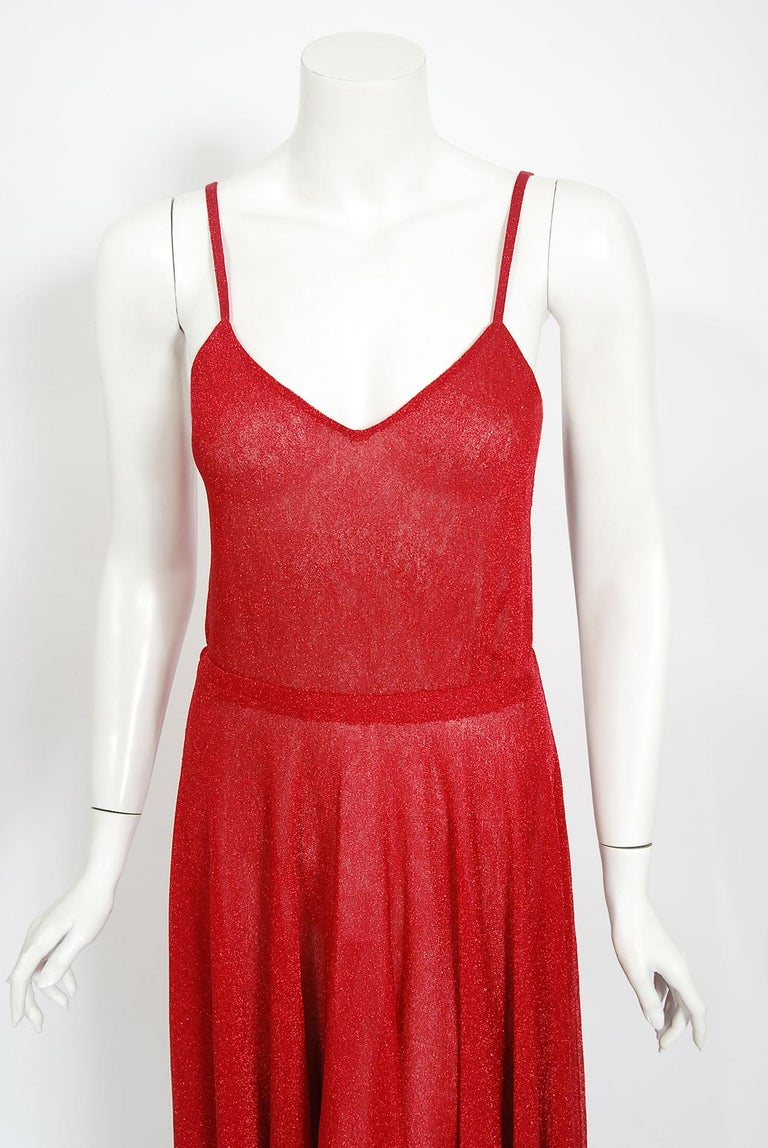Vintage 1970's Halston Couture Red Metallic Semi Sheer Knit Long-Sleeve Dress For Sale 2