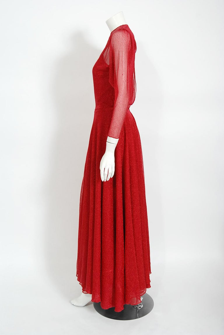 Vintage 1970's Halston Couture Red Metallic Semi Sheer Knit Long-Sleeve Dress For Sale 4