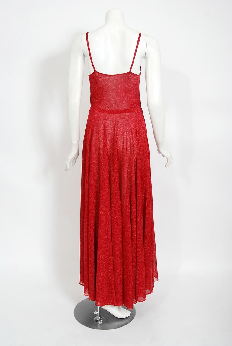 Vintage 1970's Halston Couture Red Metallic Semi Sheer Knit Long-Sleeve Dress For Sale 5
