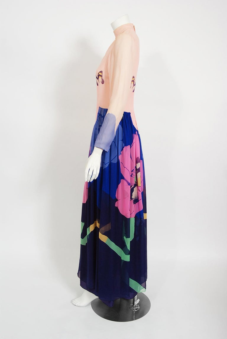 Vintage 1970's Hanae Mori Couture Butterfly Floral Print Silk Long-Sleeve Dress In Good Condition For Sale In Beverly Hills, CA