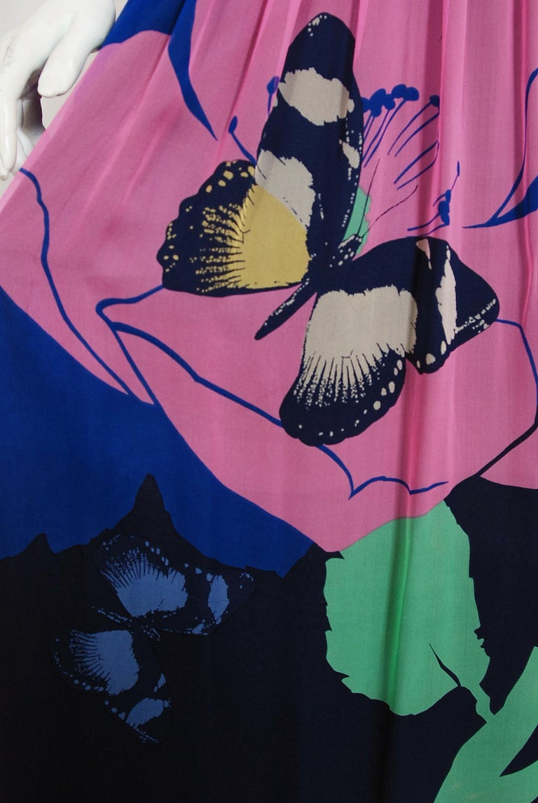 Vintage 1970's Hanae Mori Couture Butterfly Floral Print Silk Long-Sleeve Dress For Sale 1