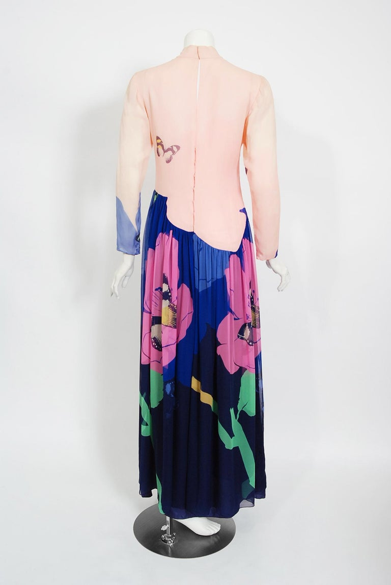 Vintage 1970's Hanae Mori Couture Butterfly Floral Print Silk Long-Sleeve Dress For Sale 3