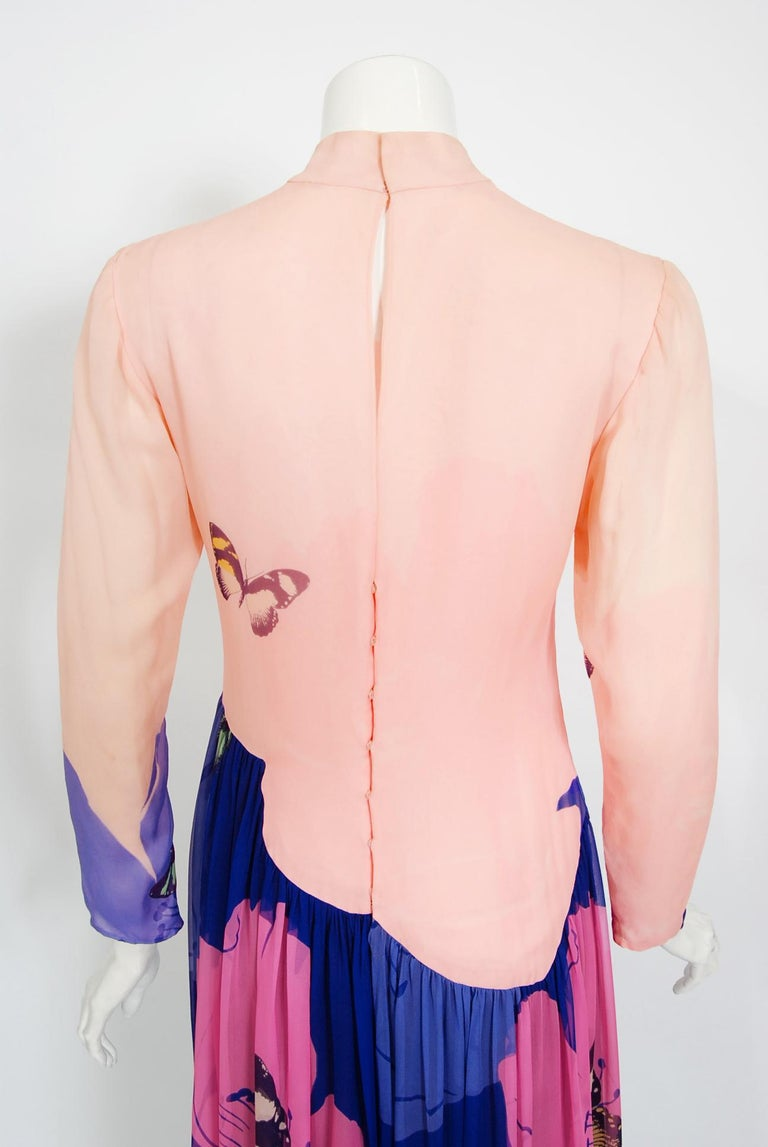 Vintage 1970's Hanae Mori Couture Butterfly Floral Print Silk Long-Sleeve Dress For Sale 4