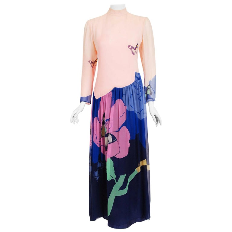 Vintage 1970's Hanae Mori Couture Butterfly Floral Print Silk Long-Sleeve Dress For Sale
