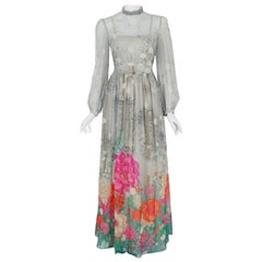 Vintage 1970's Hanae Mori Couture Floral Sheer Silk Billow Sleeve Illusion Gown