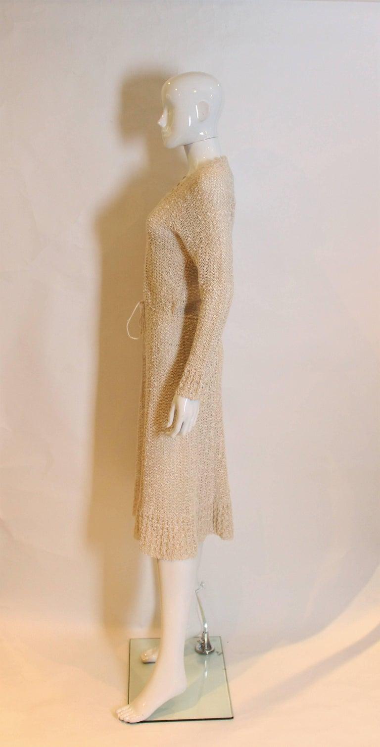 Beige Vintage 1970s Handloomed Crochet Dress For Sale