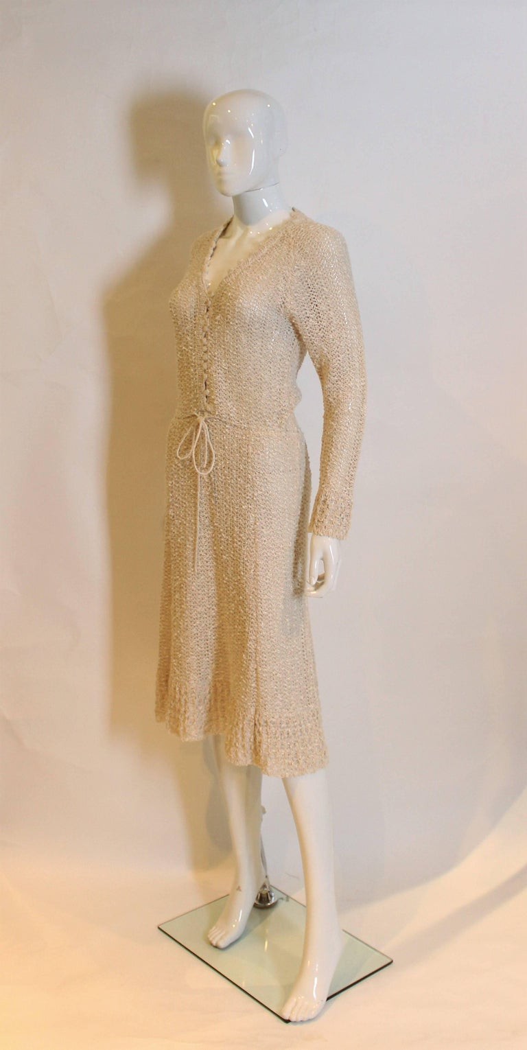 Vintage 1970s Handloomed Crochet Dress In Excellent Condition For Sale In London, GB