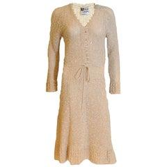 Vintage 1970s Handloomed Crochet Dress