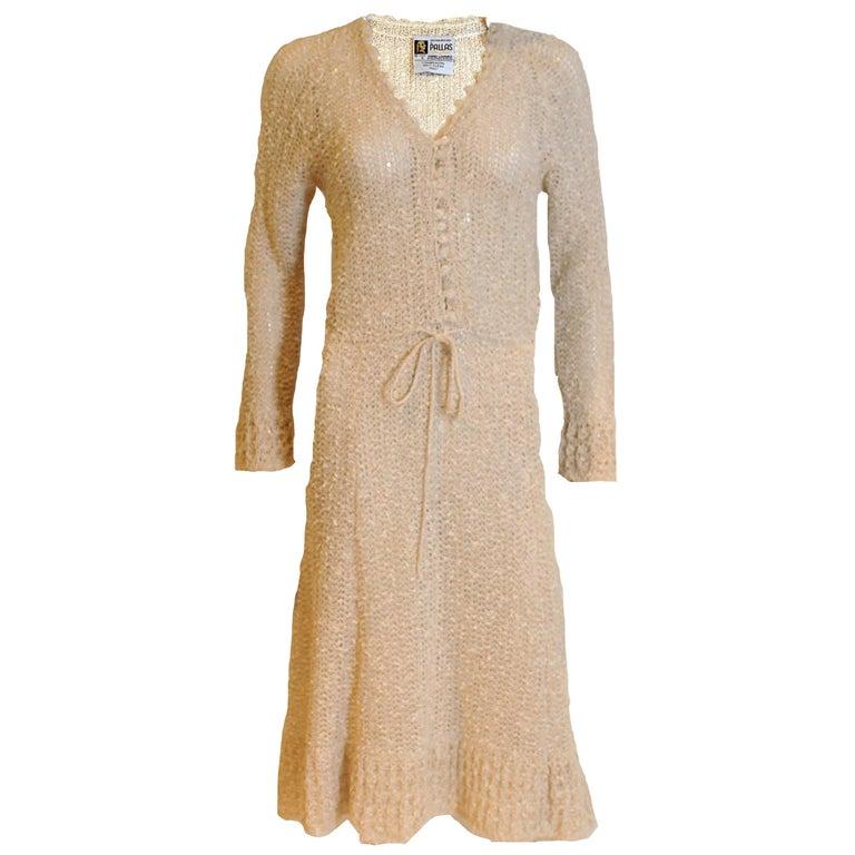 Vintage 1970s Handloomed Crochet Dress For Sale