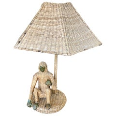 Vintage 1970s Handmade Woven Rattan Monkey Table Lamp