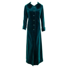Vintage 1970's Harella of England Teal Blue-Green Velvet Back Belted Maxi Coat